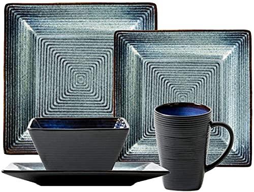 Juego de platos, Conjuntos de vajilla de cerámica tradicionales, conjuntos de cenas cuadrados de época con 8 placas, 4 tazones y 4 tazas, combinación completa de porcelana, servicio para 4 personas, 5
