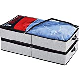 HOONEX Under Bed Storage Containers Zippered Clear Top Lid, Outer Linen Fabric, Reinforced Frame and Sturdy Bottom, 2 Leather Carrying Handles, 2 Pack, Grey