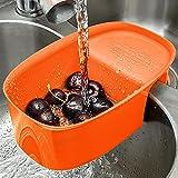 Sink Basket for Washing Fruit and Vegetable, Kitchen Sink Strainer Basket, Multifunctional Drain Shelf Storage Rack Over the Sink