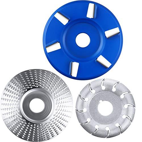 Disco de Amoladora Angular Disco Abrasivo de Tallar Madera 12 Dientes Disco Pulir Moldear y Disco Turbo en 6 Dientes, 3 Piezas (Azul Disco 6 Dientes)