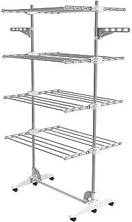 Todeco - Estante para Secado de Ropa, Tendedero - Material: Tubos de acero inoxidable - Carga máxima: 3 kg por barra de soporte - 4 estantes, Blanco, con alas