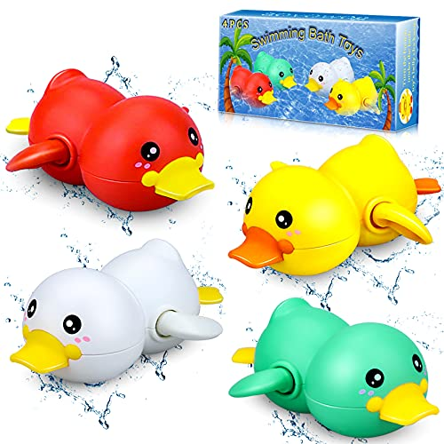 aovowog Juguetes Baño Pato Juguetes Bañera Bebe Niños 1 2 3 años, Animal Juguetes Cuerda para Bañera Piscina Agua para Bebe Niños Niñas(4 Piezas)
