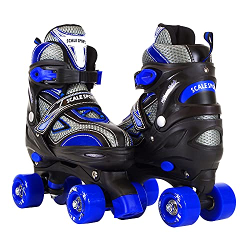 Scale Sports Adjustable Roller Skates for Kids Teen and Ladies Medium Size Blue