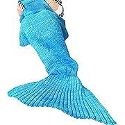 "U-miss Mermaid Blanket Crochet and Mermaid Tail Blanket for Adult, Super Soft All Seasons Thicken Sleeping Blankets(71""x35.5"", Purple)"