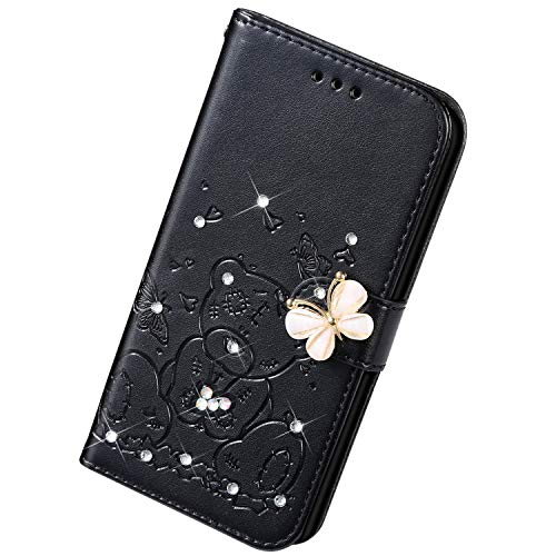Uposao Kompatibel mit iPhone 6S Plus 5.5 Hülle Leder Handyhülle Diamant Bling Strass Glitzer Blumen Cartoon Bär Muster Leder Tasche Wallet Flip Cover Case Klapphülle Schutzhülle,Schwarz