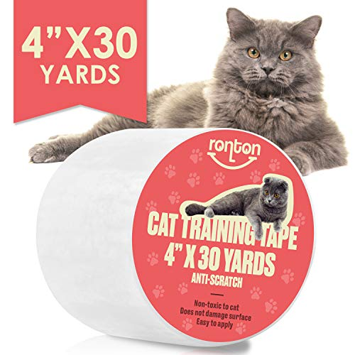 Cat Scratch Deterrent Tape - Anti Scratch Tape for Cats | 100% Transparent Clear Double Sided Cat Training Tape | Pet & Kid Safe | Furniture, Couch, Door Protector (4' x 30 Yards Roll)