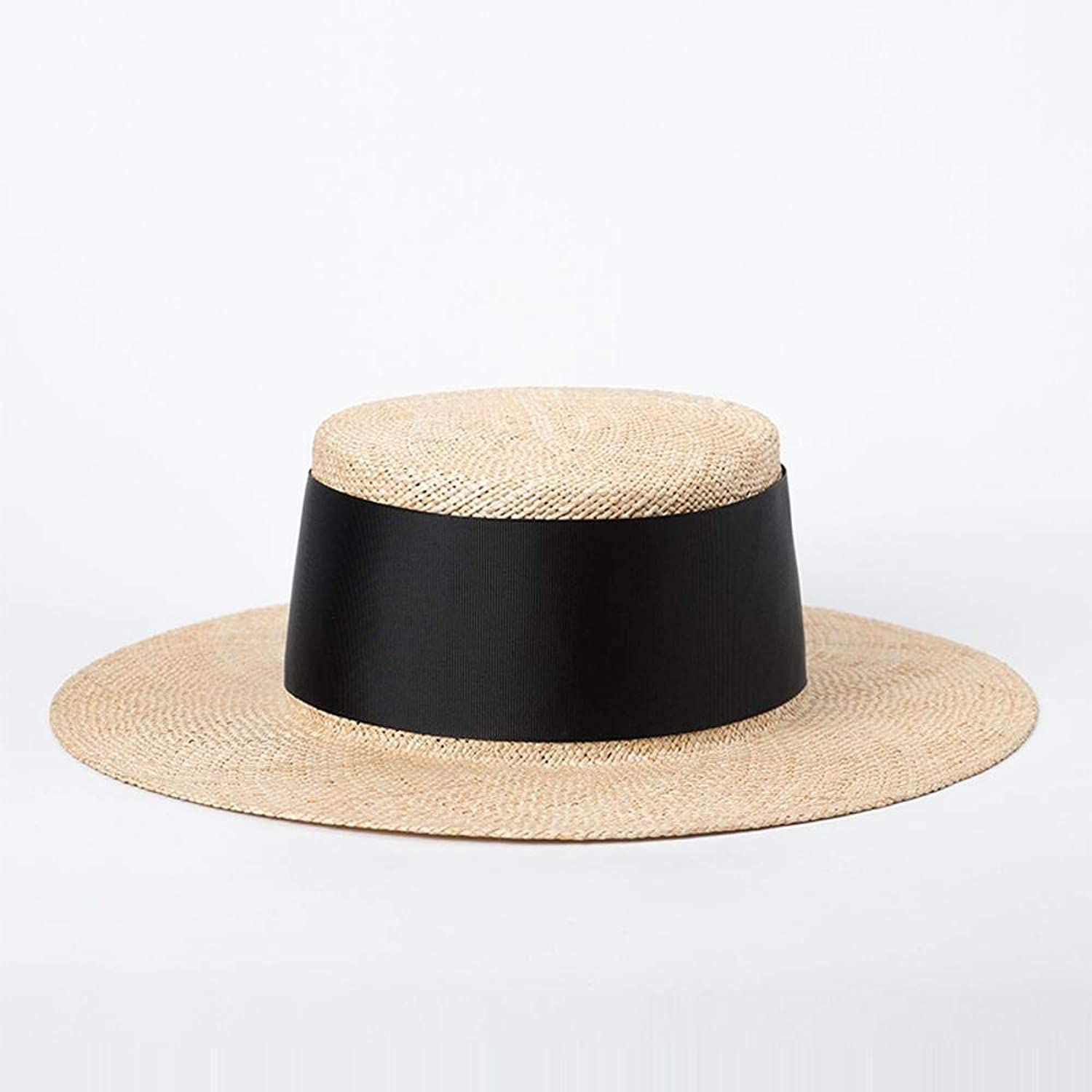 TtKj Straw hat Wide Ribbon Decorative FlatTopped po Grass hat Summer Outdoor Travel SunTopped Straw hat