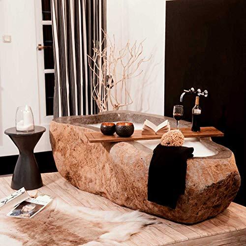 wohnfreuden Flussstein Badewanne 196x110x60cm Naturstein frei stehend