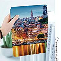 IPad 2/ iPad 3/ iPad 4 ケース - Apple iPad 2/3/4 第二世代 第三世代 第四世代タブレット用 PC + PUレザー 2つ折スタンドケース中世の町の海岸ポルトガルのポルト旧市街歴史的な夕暮れの風景装飾