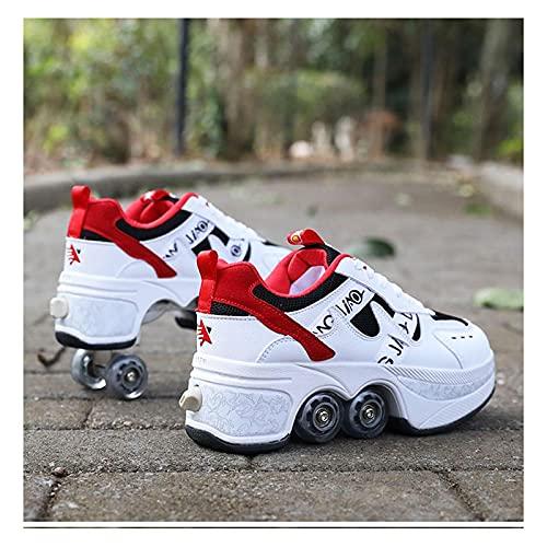 HANHJ Zapatillas Patinaje De Rodillo Deformación 4 Zapatos De Rodillo Rull para Hombres Woman Zapatillas Adultos Zapatillas Correr con Ruedas Regalo para Principiantes,A-40
