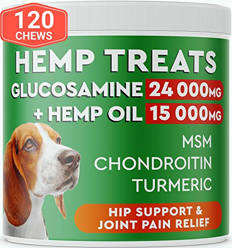 Pawfectchow Hemp + Glucosamine Treats for Dogs - Made in USA Hip & Joint Supplement w/Hemp Oil Chondroitin MSM Turmeric - Natural Pain Relief - All Breeds Sizes - 120 Soft Chews