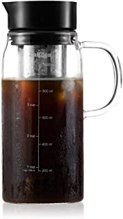 Cold Brew Coffee Maker by ZaKura, 1.0 Liter/34 Ounce, Durable Brewing Glass Carafe with Airtight Sealing Lid and Removable Stainless Steel Filter