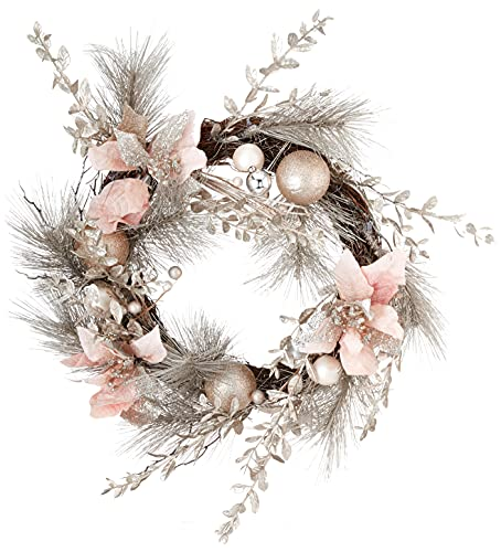 Kurt S. Adler 20-Inch Champagne and Gold Pink Poinsettias and Ornaments Wreaths, Multi