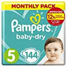 Pampers Baby-Dry, 144 Nappies, Monthly Saving Pack, Air Channels for Breathable Dryness Overnight,