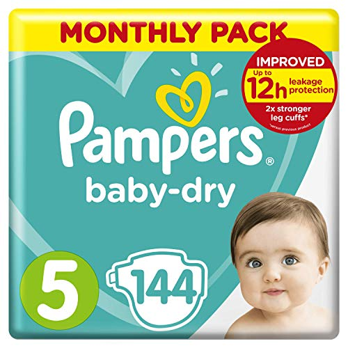 Pampers Size 5 Baby-Dry Nappies, 144 Count, MONTHLY SAVINGS PACK, Air Channels for Breathable Dryness Overnight (11-16 kg / 24-35 lbs)