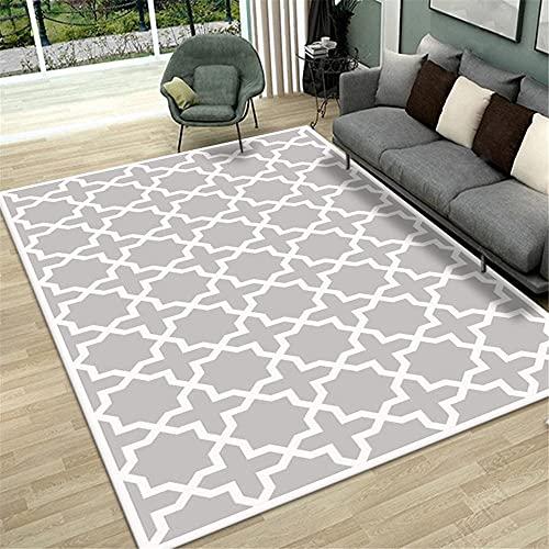 AU-SHTANG Alfombra Puzzle Alfombra Gris, patrón geométrico es fácil de Limpiar, Alfombra antiincrustante Moderna alfombras habitacion niño -Gris_200x230cm