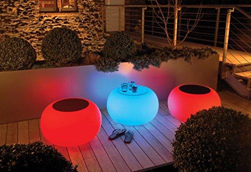 Moree Bubble LED Accu Outdoor Beistelltisch, Opal mit Farbwechselfunktion Ablagefläche Ø40cm