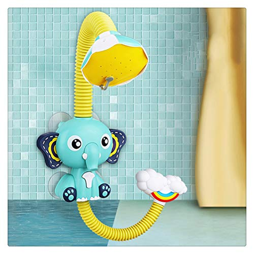 Hbao Juguetes de baño, Juego de Agua para bebés, Modelo de Elefante, Grifo, Ducha, rociador de Agua eléctrico, Juguete para niños, natación, baño, Juguetes para bebés (Color : Blue)