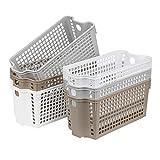 Suwimut 6 Pack Plastic Storage Basket, Multicolor Slim Storage Bins Shelf Basket for Closet Organization, Declutter, Accessories, Toys, Cleaning Products