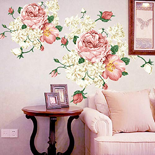 Bodhi2000 - Adhesivo Decorativo para Pared, diseño de Flores de peonía