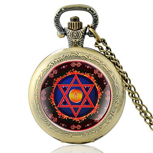 SWAOOS Vintage Bronze Israel Judentum Quarz Taschenuhr Vintage Männer Frauen Halskette Anhänger Uhr Menorah Davidstern Schmuck