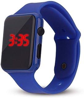 Relógio Pulso Adolescente Infantil Display Led Pulseira Azul