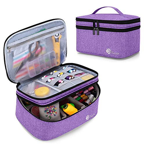 Luxja Double-Layer Sewing Accessories Organizer, Sewing Supplies Organizer for Needles, Thread, Scissors, Measuring Tape and Other Sewing Tools, Large/Purple