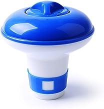 Dispensador de Cloro Flotante para Pastillas de 20 grs, Especial Mini Piscinas, spas, Piscinas... con regulador de dosificacion. Colores Azul y Blanco, plástico Duro.
