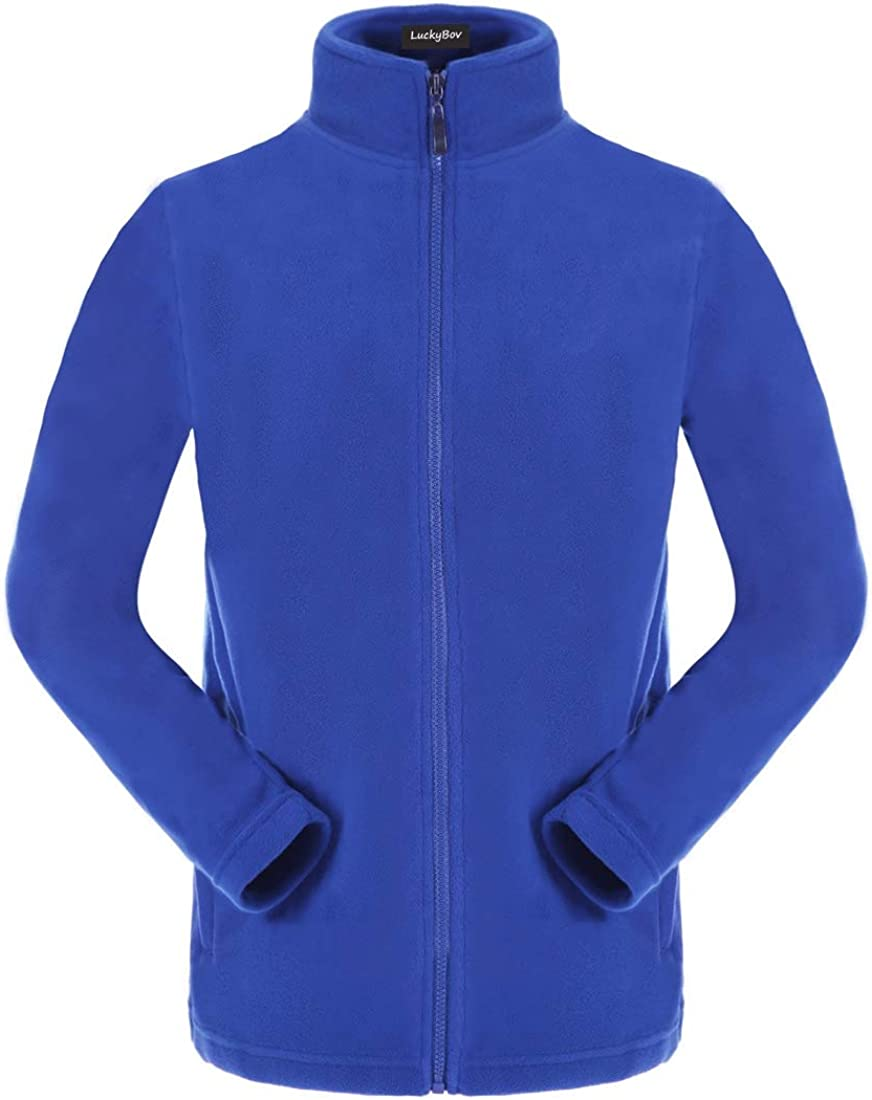 LuckyBov Men Stand Collar Zip Front Polar Fleece Jacket Thicken Thermal Softshell