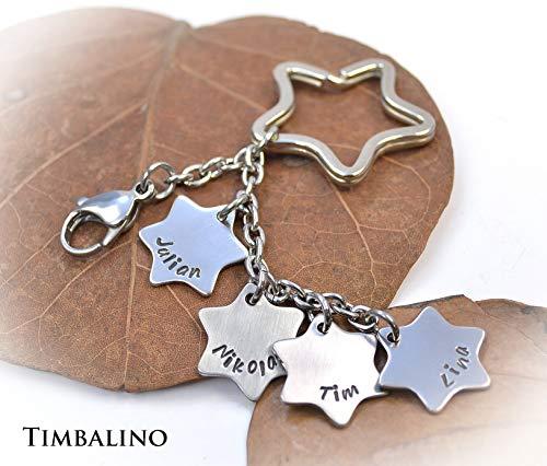 Schlüsselanhänger aus Edelstahl mit Gravur, Sternanhänger