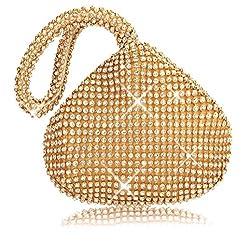 Gold (Mini Size) Triangle  Full Rhinestones Clutch Bag