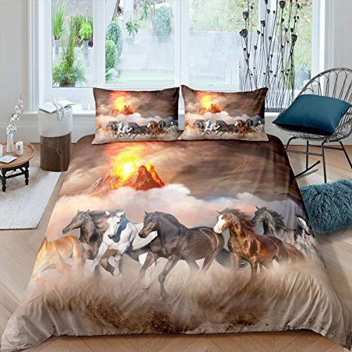 Horse Bedding Set Galloping Horse Printed Duvet Cover Set for Kids Boys Girls 3D Wild Animal Comforter Cover Wildlife Style Quilt Cover with 2 Pillowcase 3Pcs Volcano Decor Bedding Bedclothes King
