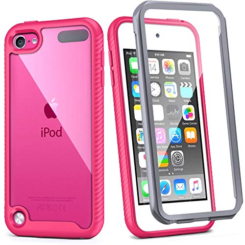 iPod Touch 7th Generation Case IDweel Armor Shockproof Case Build in Screen Protector Heavy Duty Full Protection Shock Resistant Hybrid Rugged Cover for Apple iPod Touch 5/6/7th Generation Rose