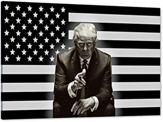 Donald Trump Canvas Wall Art, Trump American Flag 2020 Canvas Painting Trump Merchandise..