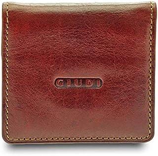 GIUDI ® portafoglio in pelle vacchetta, vera pelle, uomo donna unisex, portamonete in vera pelle, Made in Italy (Marrone)