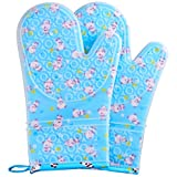 FAVIA 1 Pair Non Slip Silicone Oven Mitts with Cotton Lining, Kitchen Gloves for Cooking Baking Heat Resistant Waterproof BPA Free (Medium, Blue Base with Panda)