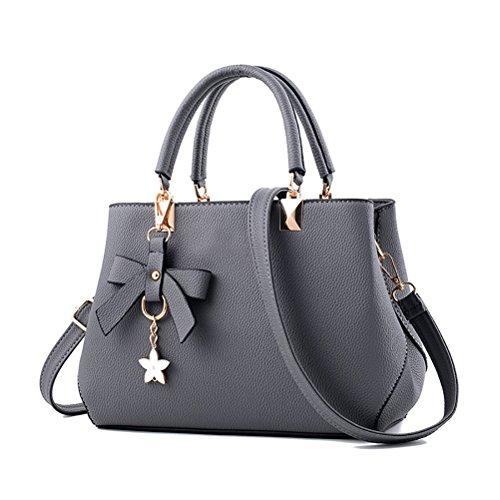 URAQT Damen Handtaschen Schulterbeutel, Frauen Stilvolle PU Designer Schultertasche Taschen Umhängetasche - Grau, Geschenk Zum Muttertag