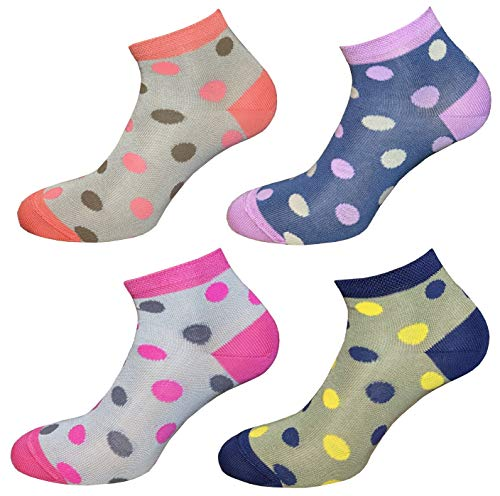CriCri Socks 4 Paia Calze Donna Corte Modello Ciclista in Fresco Cotone Leggero e Mercerizzato Alta Qualità Made in Italy - Taglia Unica (Combinazione 1)