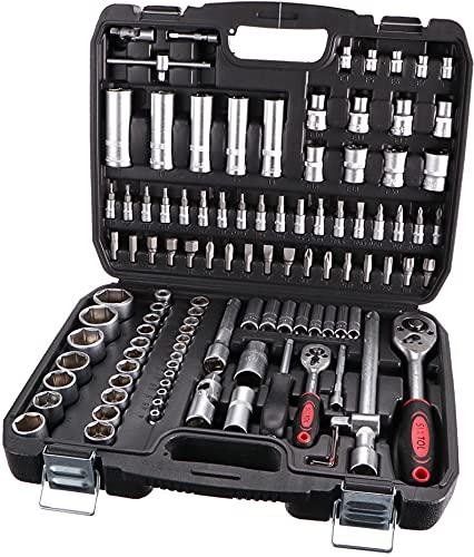 SIXTOL Juego de herramientas de 108 piezas en un maletín de herramientas | Juego de llaves de acero CrV |