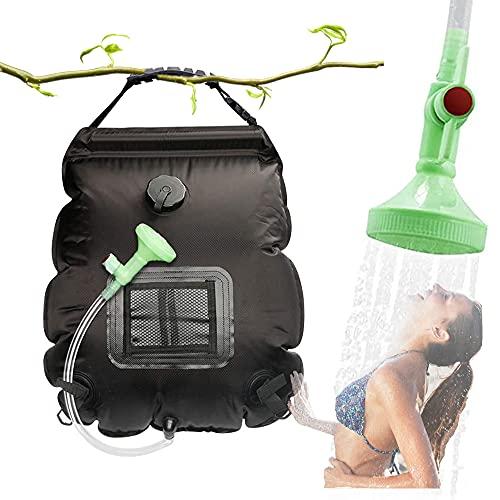 MeYuxg Solardusche Camping, Outdoor Dusche, Campingdusche Solar,Camping Duschtasche für Außendusche,5Gal (20L)shower bag mit Schlauch und EIN-und ausschaltbarem Duschkopf,für Reisen im Freien,Schwarz