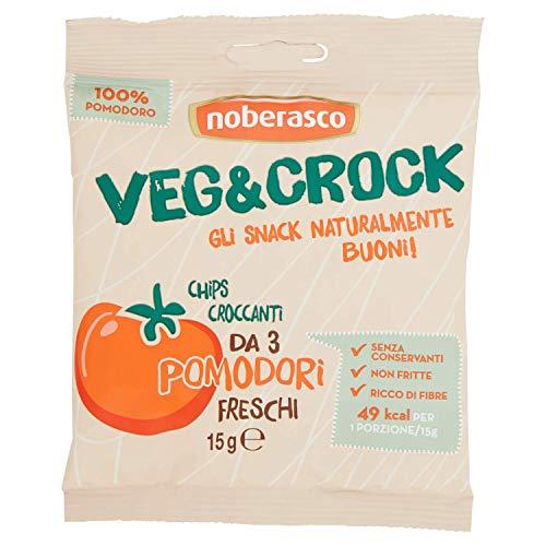Veg&Crock Pomodori - 15 g Noberasco- Chips di Verdure- Cartoncino da 12 Pezzi x 15G
