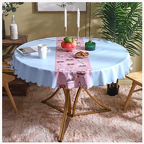 Manteles redondos para limpiar, moderno, azul, con diseño de China, mantel de hule, mantel resistente a las manchas, mantel de PVC, decoración de mesa navideña para comedor, fiesta en el jar