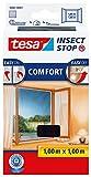 tesa Insect Stop COMFORT Fliegengitter Fenster - Insektenschutz mit Klettband selbstklebend - Fliegen Netz ohne Bohren - anthrazit (durchsichtig), 100 cm x 100 cm