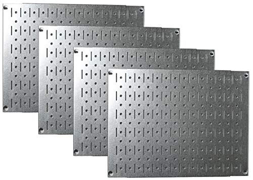 Pegboard Wall Organizer Tiles - Wall Control Modular Galvanized Steel Pegboard Tiling Set - Four 12-Inch Tall x 16-Inch Wide Peg Board Panel Wall Storage Tiles - Easy to Install (Metallic)
