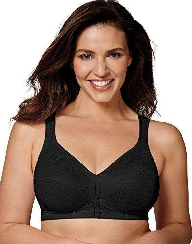 Playtex Women's 18 Hour Front Close Wirefree Back Support Posture Full Coverage Bra #E525, Black, 44C
