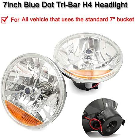 "7/"" Black Dot and Orange Turn Signal Tri Bar Headlights For Chevy Ford Mopar"