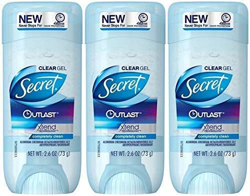 Secret Outlast Antiperspirant and Deodorant Clear Gel, Completely Clean - 2.7 Oz Each, Pack of 3