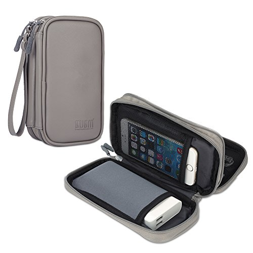 BUBM Travel Electronics Organiser, Carrying Pouch for Power Bank, Phone, Wall Charger, USB Cables and Other Phone Accessories, PU Grey