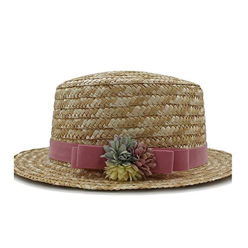SSHZJUS Hipster Sombreros de Sol for Mujeres Sombrero de Playa de Verano Sombrero de Playa de Marinero de Verano Sombrero de Playa Femenino Ocasional Sombrero Plano Sombrero de Paja