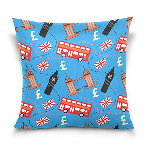 Vipsa London Edificios y artículos decorativos cuadrados funda de cojín para sofá, dormitorio, coche, diseño de doble cara, 45,7 x 45,7 cm